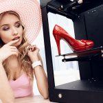 blonde-pink-dress-is-looking-red-shoe-3d-printer mod